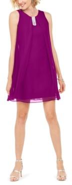 MSK Embellished Chiffon A-Line Dress