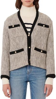 Maje Contrast Trim Metallic Tweed Cardigan