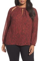 MICHAEL Michael Kors Plus Size Women's Umbria Lace Print Keyhole Blouse