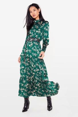 Nasty Gal Womens Nothing Bud a Goodtime Floral Maxi Dress - Dark Green