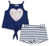Little Lass Baby Girls Baby Love Tank and Striped Shorts Set