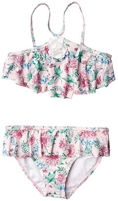 Janie and Jack Floral Two-Piece Swimsuit (Toddler/Little Kids/Big Kids) (Pink) Girl's Swimwear Sets