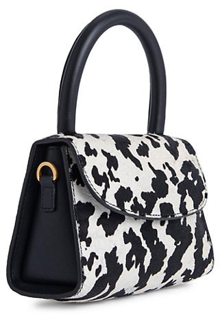 Thumbnail for your product : BY FAR Mini Amber Cow-Print Faux Calf Hair & Leather Top Handle Bag