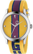Gucci 38MM G-Timeless Logo Strap Watch in Yellow, Purple & Blue | FWRD