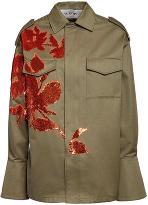 Valentino Embellished Gabardine Field Jacket