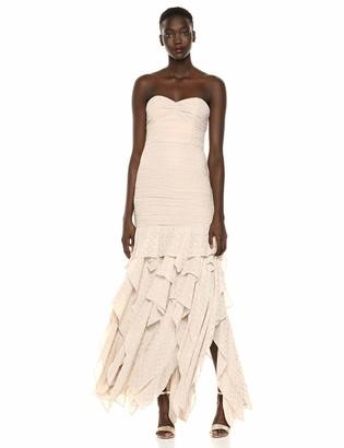 Halston Women's Strapeless Pleated Metallic Gown