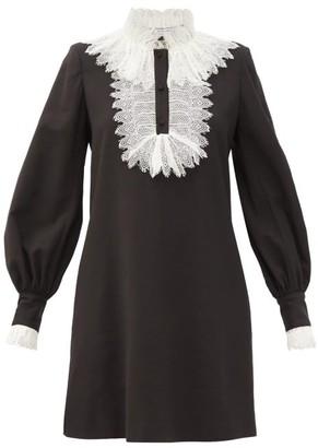 Françoise Francoise - Lace-trimmed Crepe Mini Dress - Black