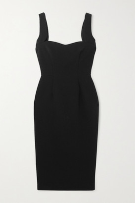 Victoria Beckham Paneled Crepe Midi Dress - Black