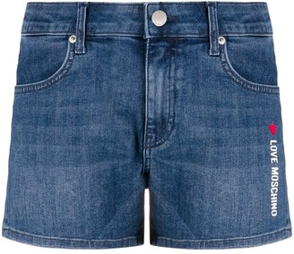 Love Moschino logo printed denim shorts