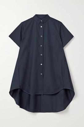 Sacai Oversized Grosgrain-trimmed Poplin Shirt - Midnight blue