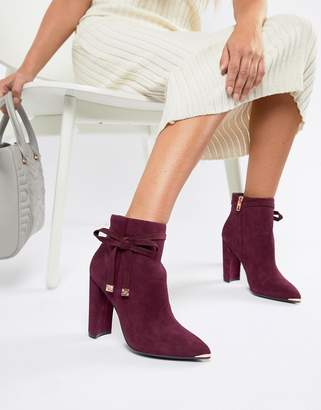 Ted Baker Burgundy Suede Heeled Ankle Boots with Bow-Red