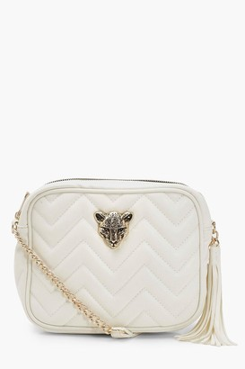 boohoo Cheetah Hardware Quilted Cross Body Bag