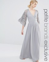Maya Petite Wrap Front Pleated Maxi Dress With Lace Sleeve