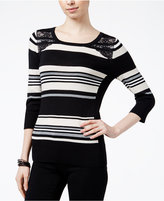 Amy Byer Juniors' Striped Lace-Panel Sweater
