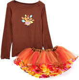 Beary Basics Brown Turkey Appliqué Tee & Orange Tutu - Infant Toddler & Girls