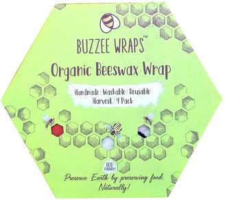 Buzzee Organic Beeswax 4 Piece Food Storage Wraps Set Harvest