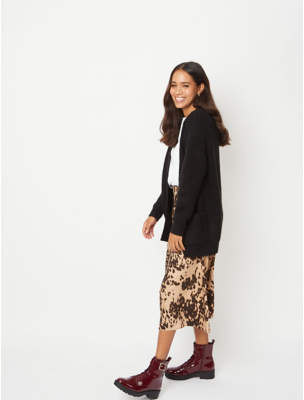 George Black Chunky Knit Open Front Cardigan