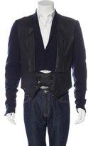 Ann Demeulemeester Wool Leather-Trimmed Blazer