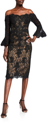 Jovani Off-the-Shoulder 3/4-Sleeve Short Lace Dress