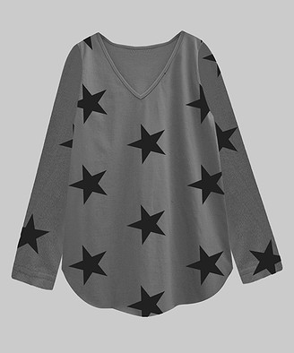A.T.U.N. Women's Tee Shirts charcoal-black - Charcoal & Black Star V-Neck Long-Sleeve Tee - Women & Plus