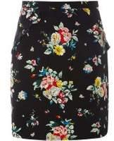 Dorothy Perkins Womens **Tall Black Floral Ruffle Mini Skirt- Black