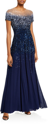 Escada Degrade Sequined Cap-Sleeve Illusion Gown