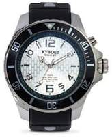 Power Silver Echo Black Silicone & Stainless Steel Strap Watch/48MM