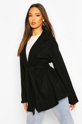 boohoo Oversized Slouchy Wool Look Belted Coat