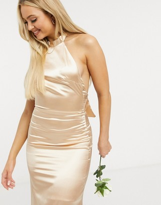 TFNC Bridesmaid satin halterneck fishtail maxi dress in champagne