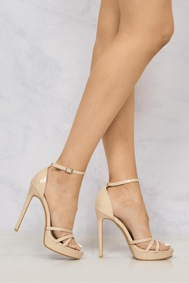 Miss Diva Amelia Crossover Strap Platform Sandal in Nude Patent