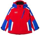 Armani Junior Red and Blue Klingler Colour Block Ski Jacket