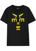 Fendi Black Logo-appliquéd Cotton T-shirt