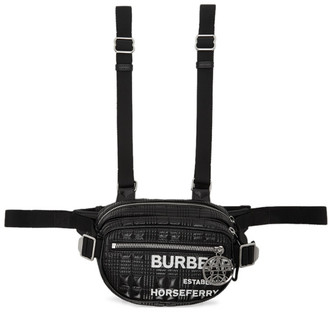 Burberry Black Coated Canvas Cannon Horseferry Belt Pack