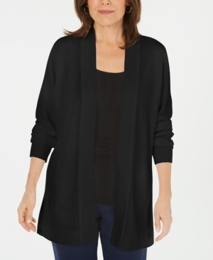 Karen Scott Petite Open-Front Sweater Cardigan, Created for Macy's