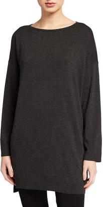 Eileen Fisher Plus Size Bateau-Neck Bracelet-Sleeve Cozy Tunic