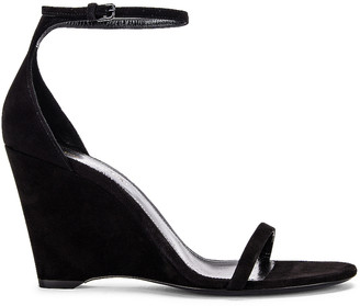 Saint Laurent Lila Wedge Sandals in Black | FWRD