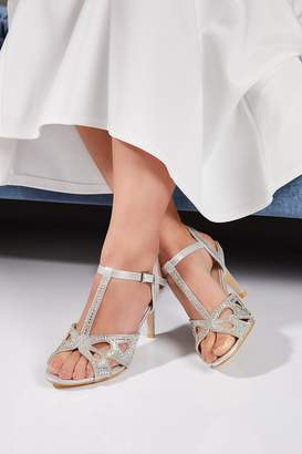 Quiz Bridal Silver Diamante T-Bar Heeled Sandals