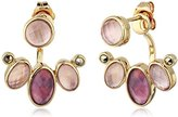"Judith Jack Burgundy Valley"" Sterling Silver/Swarovski Marcasite Gold-Tone Front Back Drop Earrings"