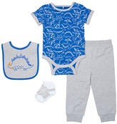 Cutie Pie Baby Blue & Gray Dinosaur Bodysuit Set - Infant