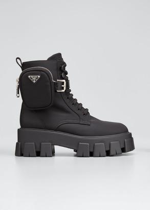 Prada Nylon Zip-Pocket Combat Boots
