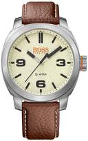 HUGO BOSS Cape Town Casual Cream Dial Brown Leather Strap Mens Watch