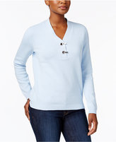 Karen Scott Metallic-Hardware Cotton Sweater, Created for Macy's