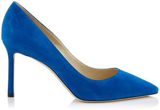 Jimmy Choo ROMY 85 Electric Blue Suede Mesh Pointy Toe Pump