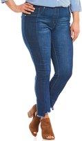 Peter Nygard Nygard Slims Plus Luxe Denim Two Tone Raw Hem Skinny Ankle Jeans