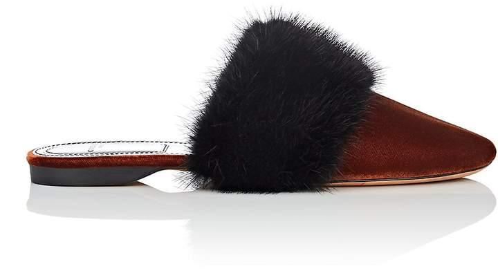 Givenchy Women's Fur-Trimmed Velvet Mules