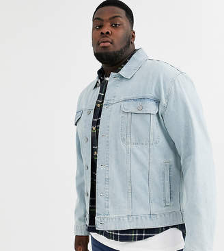 Asos Design DESIGN Plus oversized denim jacket in light wash-Blue