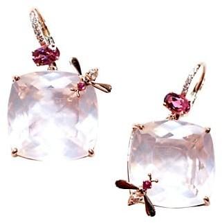 Sharon Khazzam Bee 18K Rose Gold, Rose Quartz Multi-Stone Drop Earrings