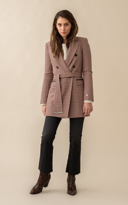 Soia & Kyo FLORIANA semi-fitted micro-check belted blazer