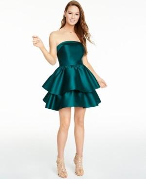 B. Darlin Juniors' Strapless Double-Tiered Dress