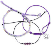 Unwritten 3-Pc. Set Heart Charm, Bead and Corded Bracelets in Silver-Plate